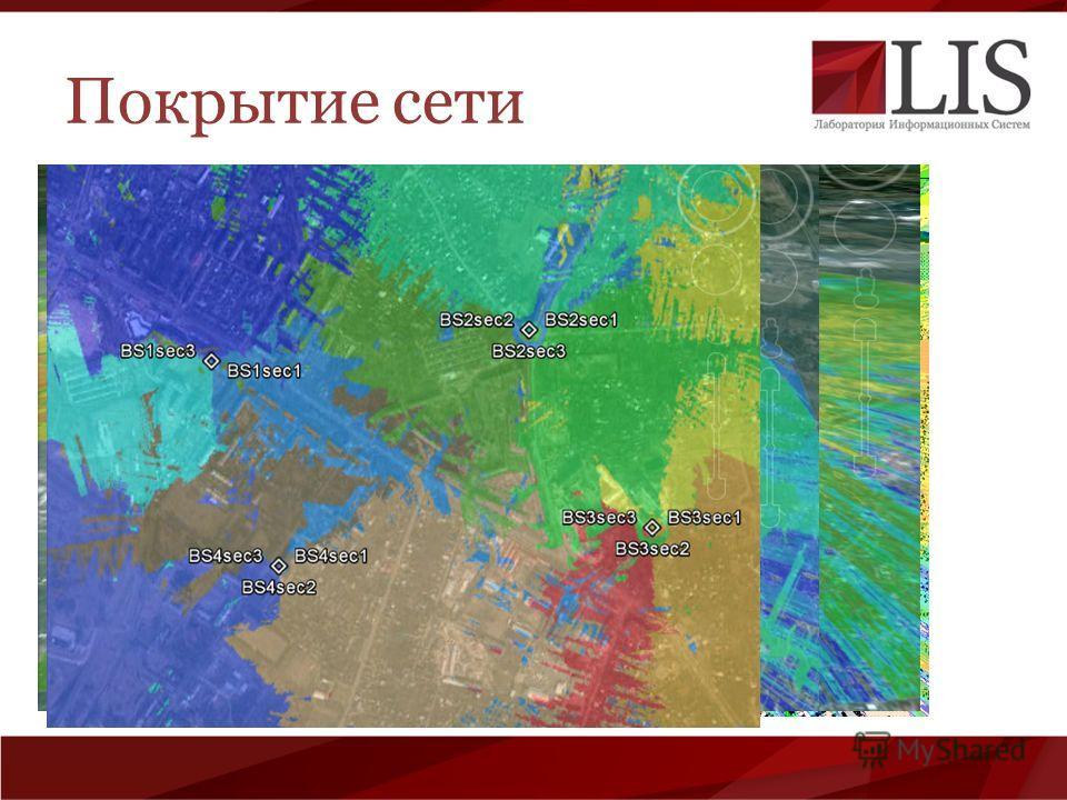 Покрытие сети Напряженности поля (характеризуется цветом) Покрытие по секторами