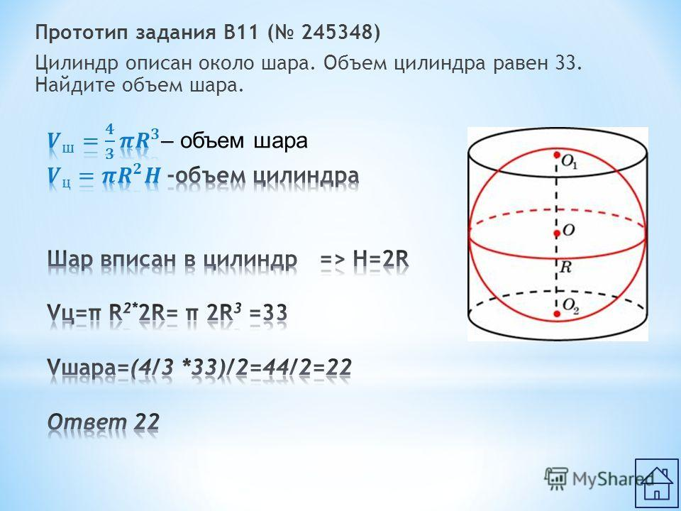 Прототип задания B11 ( 245348) Цилиндр описан около шара. Объем цилиндра равен 33. Найдите объем шара.