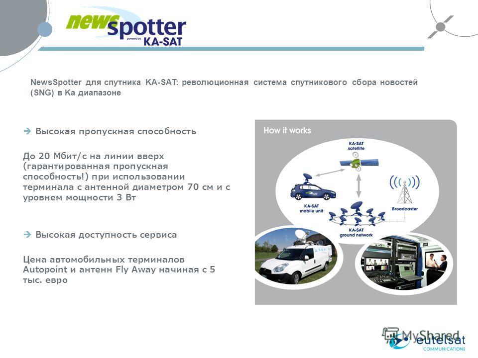 Высокая пропускная способность До 20 Мбит/с на линии вверх (гарантированная пропускная способность!) при использовании терминала с антенной диаметром 70 см и с уровнем мощности 3 Вт Высокая доступность сервиса Цена автомобильных терминалов Autopoint