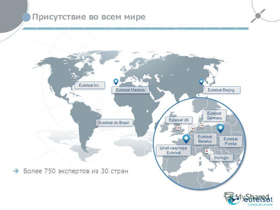 Присутствие во всем мире 18 Eutelsat Inc. Eutelsat do Brasil Eutelsat Madeira Eutelsat Beijing Eutelsat UK Eutelsat Germany Штаб-квартира Eutelsat Штаб-квартира Eutelsat Eutelsat Polska Eutelsat Benelux Skylogic Более 750 экспертов из 30 стран