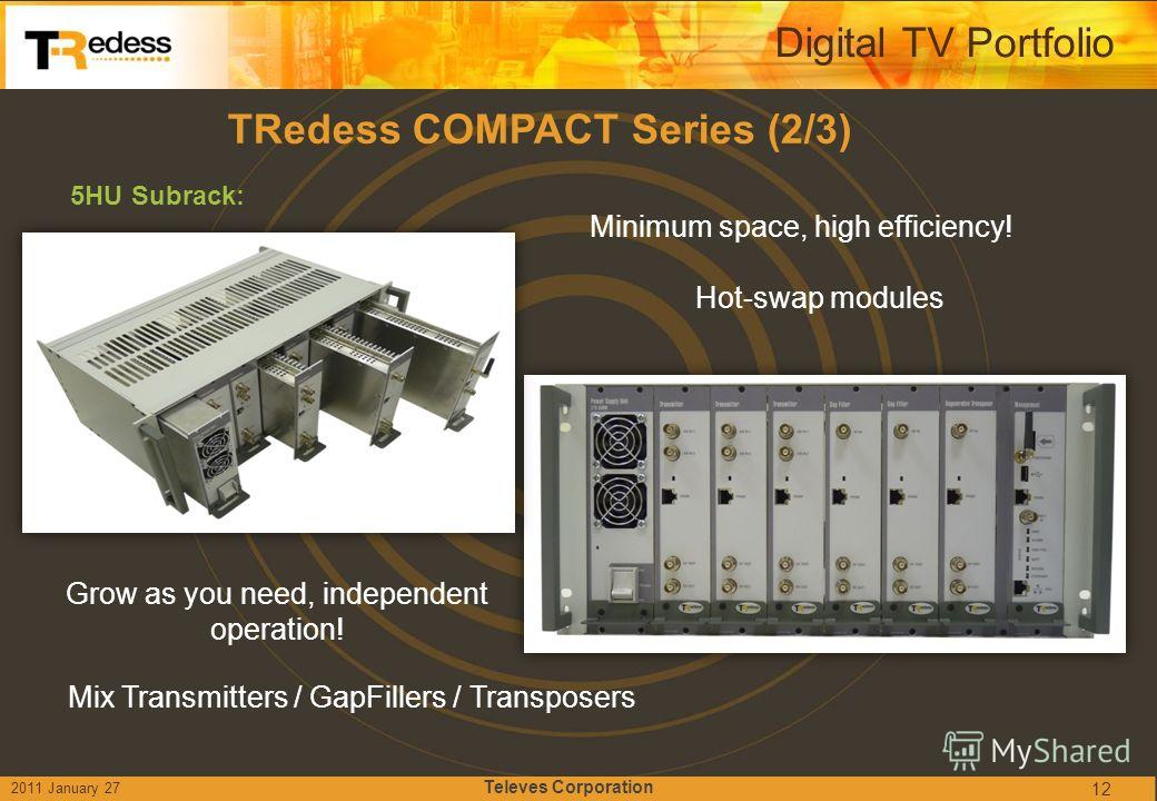 TRedess COMPACT Series (2/3) 5HU Subrack: Grow as you need, independent operation! Minimum space, high efficiency! Hot-swap modules Digital TV Portfolio 12 Mix Transmitters / GapFillers / Transposers 2011 January 27 Televes Corporation