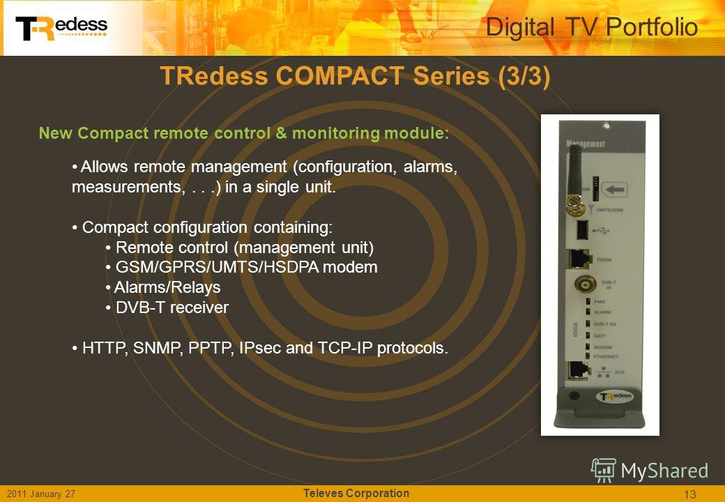 TRedess COMPACT Series (3/3) New Compact remote control & monitoring module: Allows remote management (configuration, alarms, measurements,...) in a single unit. Compact configuration containing: Remote control (management unit) GSM/GPRS/UMTS/HSDPA m