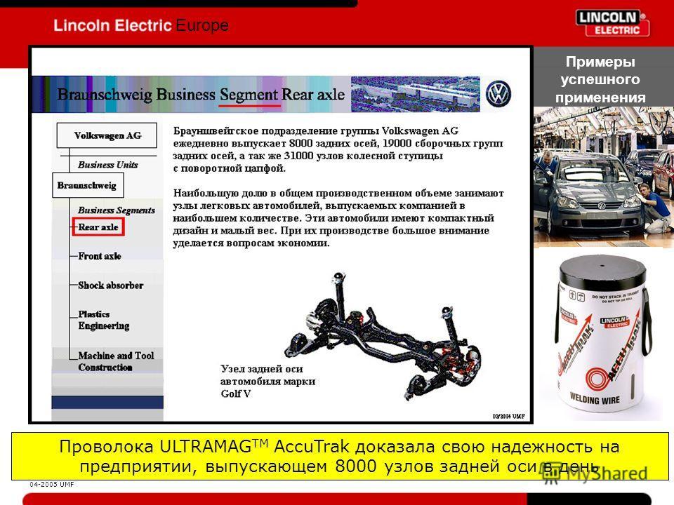 Europe Примеры успешного применения Проволока ULTRAMAG TM AccuTrak доказала свою надежность на предприятии, выпускающем 8000 узлов задней оси в день 04-2005 UMF