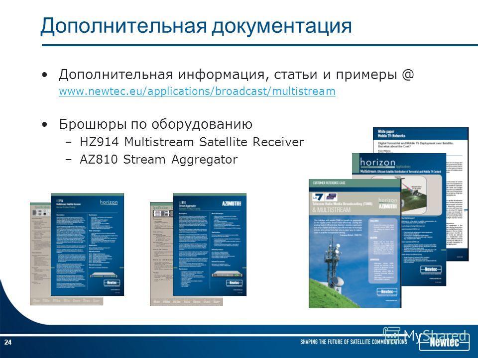 24 Дополнительная документация Дополнительная информация, статьи и примеры @ www.newtec.eu/applications/broadcast/multistream Брошюры по оборудованию –HZ914 Multistream Satellite Receiver –AZ810 Stream Aggregator