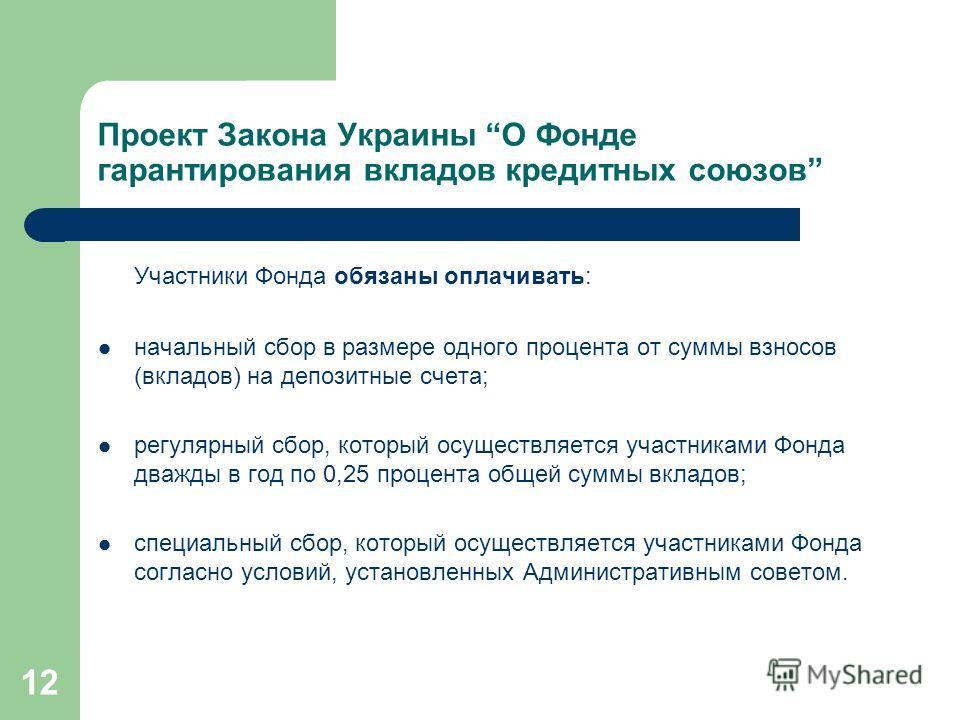 12 Проект Закона Украины О Фонде гарантирования вкладов кредитных союзов Участники Фонда обязаны оплачивать: начальный сбор в размере одного процента от суммы взносов (вкладов) на депозитные счета; регулярный сбор, который осуществляется участниками