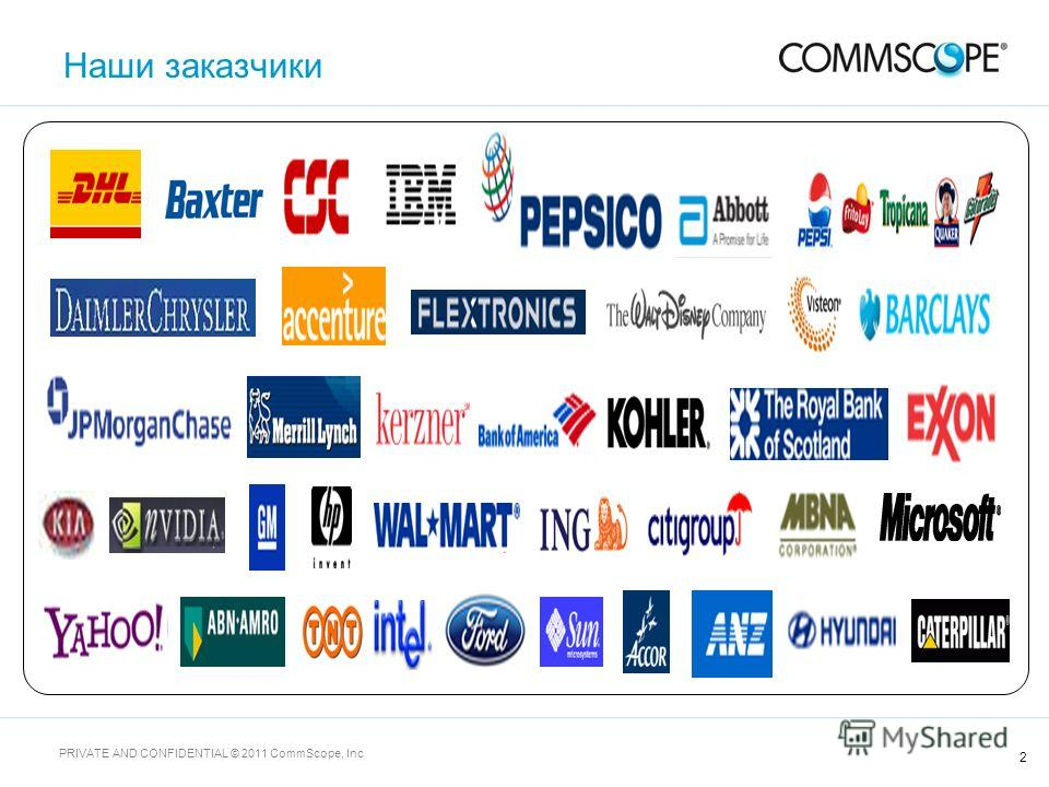 2 PRIVATE AND CONFIDENTIAL © 2011 CommScope, Inc Наши заказчики