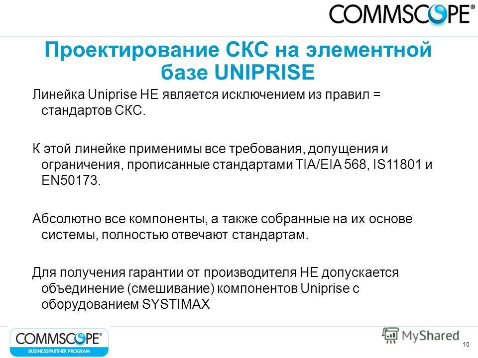 10 Проектирование СКС на элементной базе UNIPRISE Линейка Uniprise НЕ является исключением из правил = стандартов СКС. К этой линейке применимы все требования, допущения и ограничения, прописанные стандартами TIA/EIA 568, IS11801 и EN50173. Абсолютно