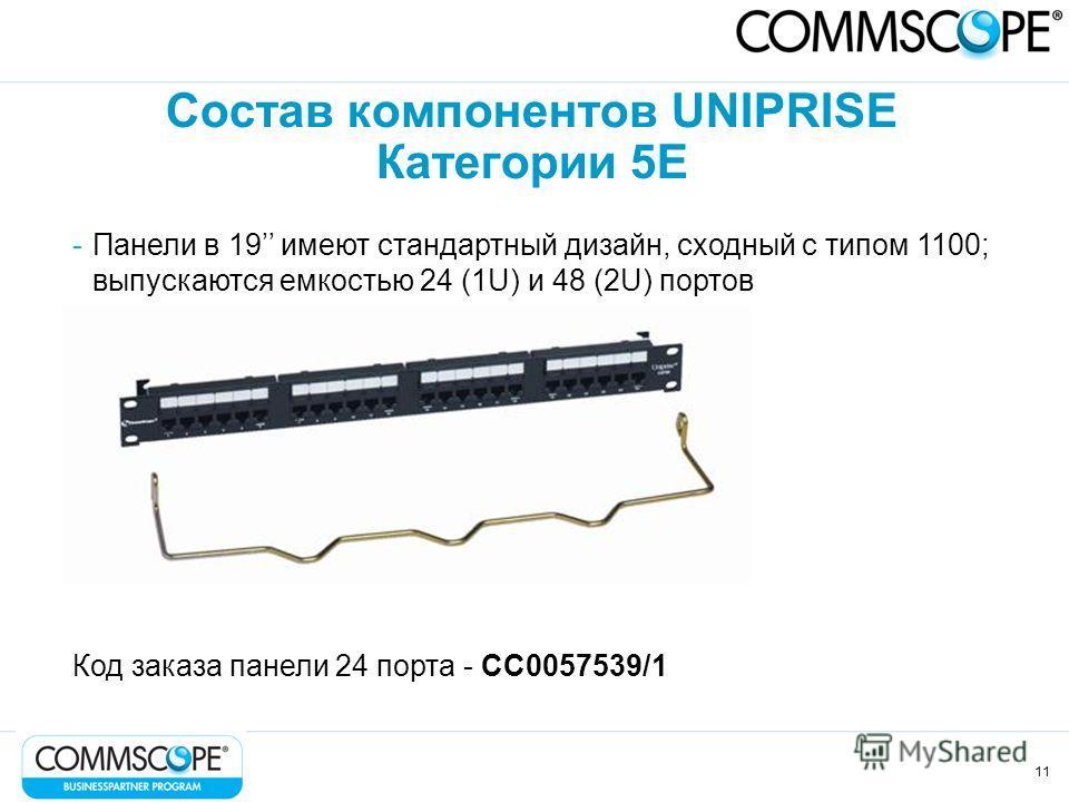 11 Состав компонентов UNIPRISE Категории 5Е -Панели в 19 имеют стандартный дизайн, сходный с типом 1100; выпускаются емкостью 24 (1U) и 48 (2U) портов Код заказа панели 24 порта - CC0057539/1