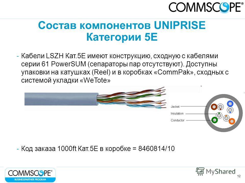 12 Состав компонентов UNIPRISE Категории 5Е -Кабели LSZH Кат.5Е имеют конструкцию, сходную с кабелями серии 61 PowerSUM (сепараторы пар отсутствуют). Доступны упаковки на катушках (Reel) и в коробках «CommPak», сходных с системой укладки «WeTote» -Ко