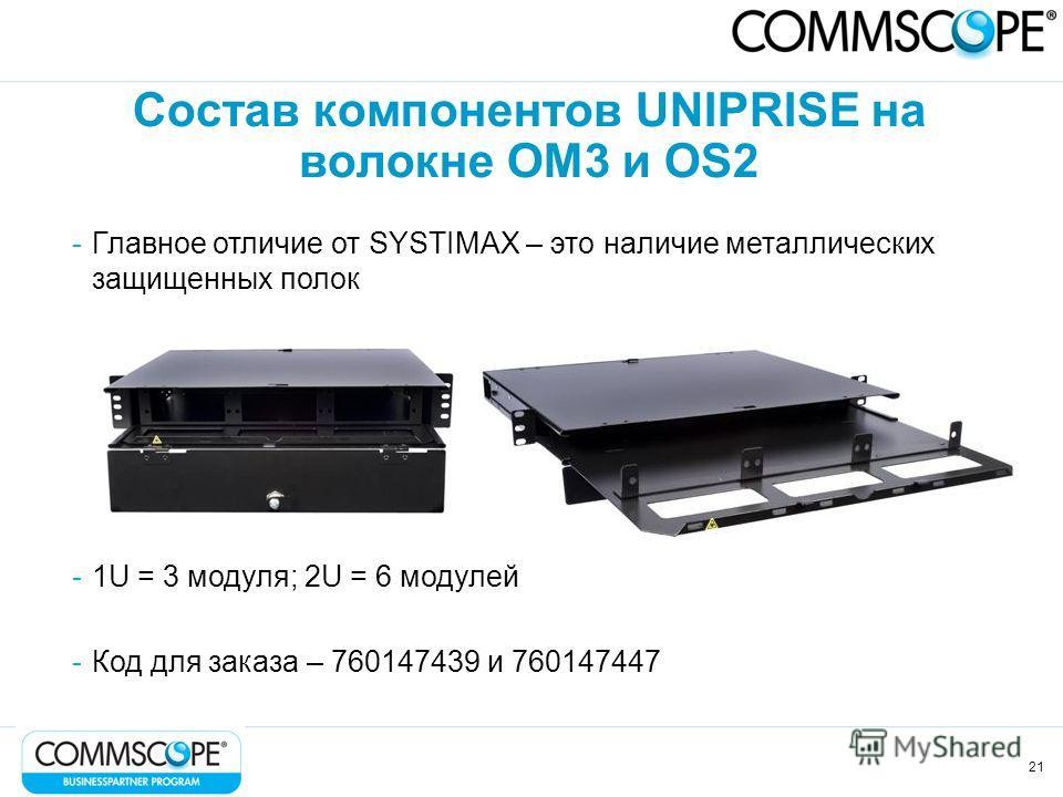 21 Состав компонентов UNIPRISE на волокне OM3 и OS2 -Главное отличие от SYSTIMAX – это наличие металлических защищенных полок -1U = 3 модуля; 2U = 6 модулей -Код для заказа – 760147439 и 760147447
