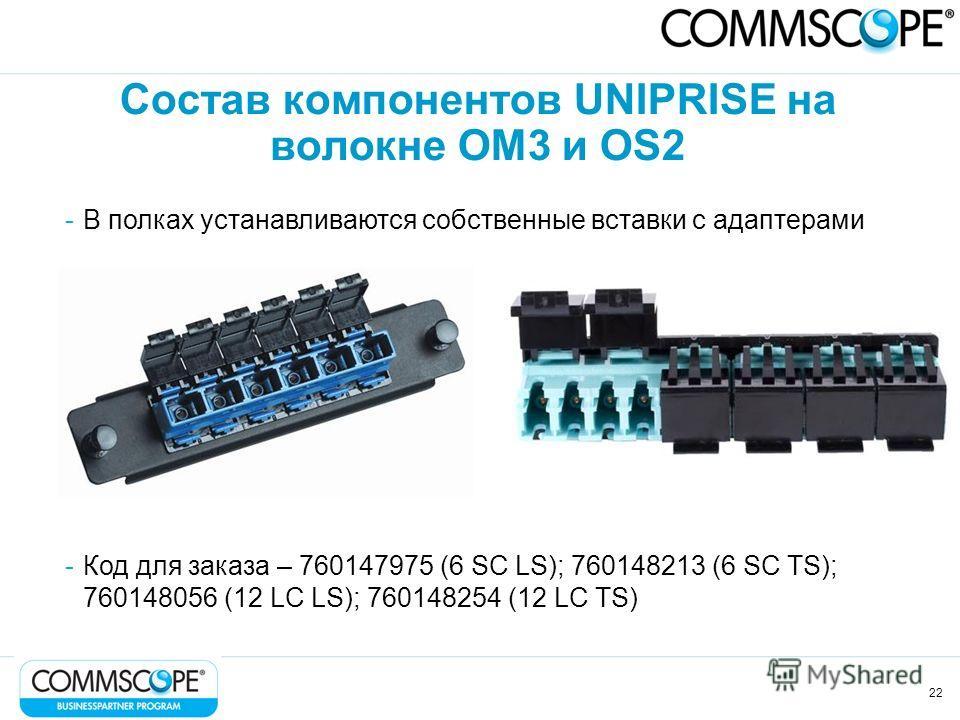 22 Состав компонентов UNIPRISE на волокне OM3 и OS2 -В полках устанавливаются собственные вставки с адаптерами -Код для заказа – 760147975 (6 SC LS); 760148213 (6 SC TS); 760148056 (12 LC LS); 760148254 (12 LC TS)