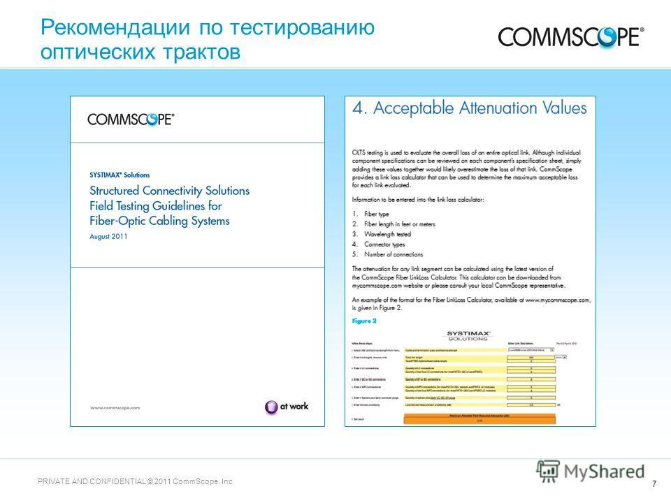 7 PRIVATE AND CONFIDENTIAL © 2011 CommScope, Inc Рекомендации по тестированию оптических трактов