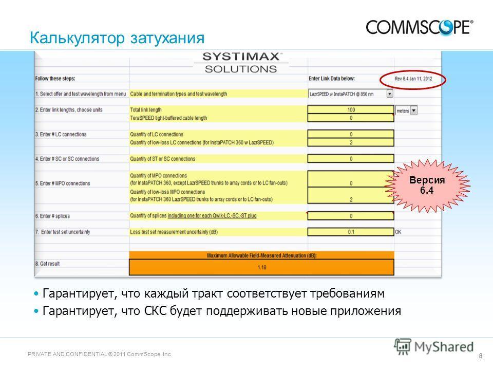 8 PRIVATE AND CONFIDENTIAL © 2011 CommScope, Inc Гарантирует, что каждый тракт соответствует требованиям Гарантирует, что СКС будет поддерживать новые приложения Версия 6.4 Калькулятор затухания