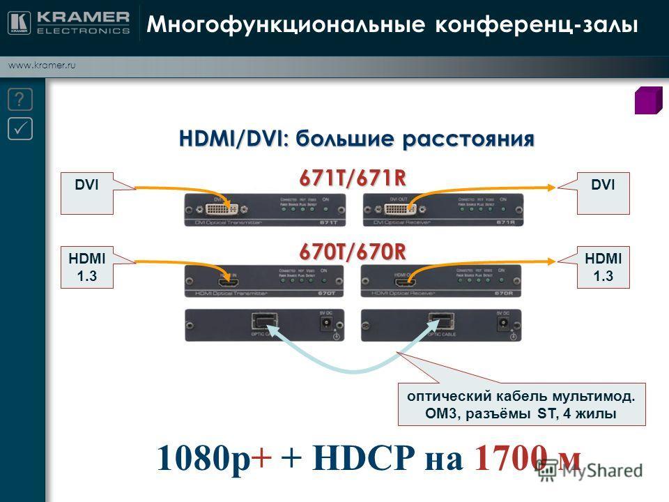 www.kramer.ru Многофункциональные конференц-залы HDMI/DVI: большие расстояния 1080p+ + HDCP на 1700 м оптический кабель мультимод. OM3, разъёмы ST, 4 жилы HDMI 1.3 DVI 671T/671R 670T/670R