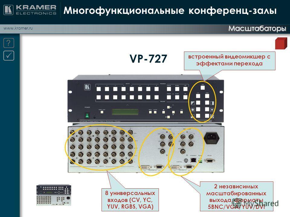 www.kramer.ru Многофункциональные конференц-залы Масштабаторы VP-727 встроенный видеомикшер с эффектами перехода 2 независимых масштабированных выхода, форматы 5BNC/VGA/YUV/DVI 8 универсальных входов (CV, YC, YUV, RGBS, VGA)