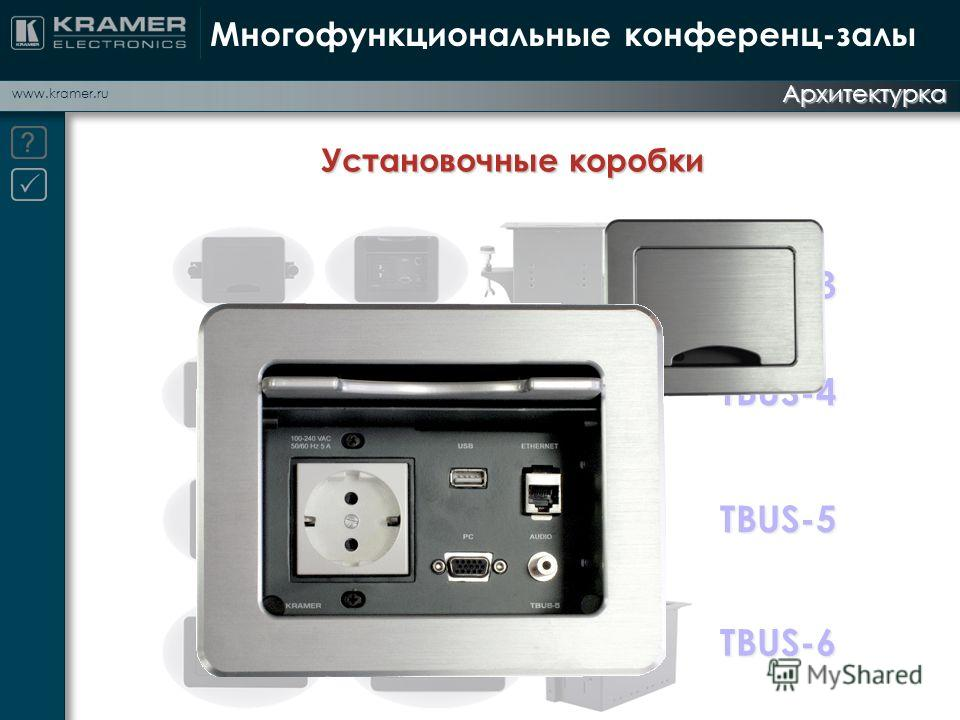 www.kramer.ru Архитектурка Многофункциональные конференц-залы Установочные коробки TBUS-3 TBUS-4 TBUS-5 TBUS-6