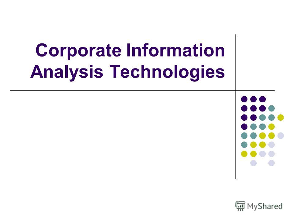 Corporate Information Analysis Technologies
