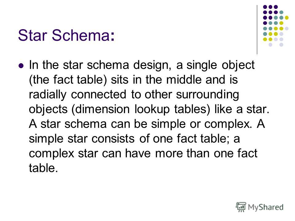Star Schema: In the star schema design, a single object (the fact table) sits in the middle and is radially connected to other surrounding objects (dimension lookup tables) like a star. A star schema can be simple or complex. A simple star consists o