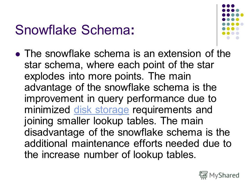 Snowflake Schema: The snowflake schema is an extension of the star schema, where each point of the star explodes into more points. The main advantage of the snowflake schema is the improvement in query performance due to minimized disk storage requir