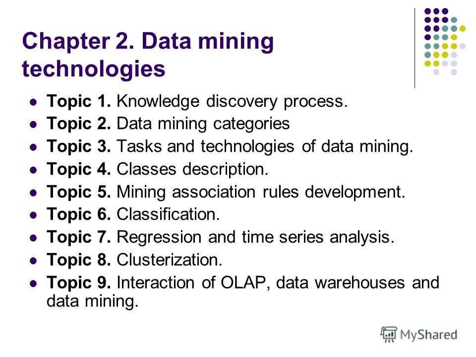data mining chapter 2 questions 9 chapter 2: literature review the literature review addresses three fundamental questions: 1) are there theories or models which explain how to analyze a.