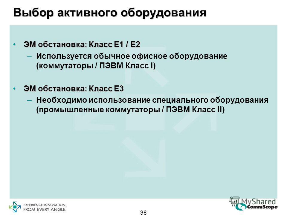 36 Выбор активного оборудования ЭМ обстановка: Класс Е1 / Е2ЭМ обстановка: Класс Е1 / Е2 –Используется обычное офисное оборудование (коммутаторы / ПЭВМ Класс I) ЭМ обстановка: Класс Е3ЭМ обстановка: Класс Е3 –Необходимо использование специального обо