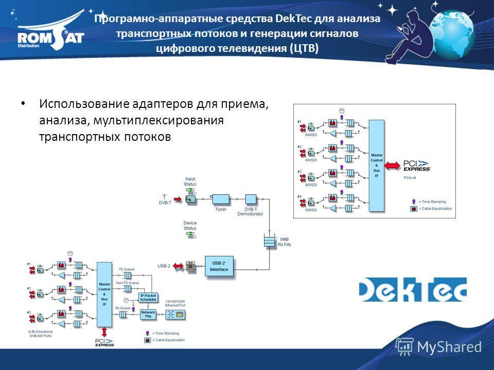 Использование адаптеров для приема, анализа, мультиплексирования транспортных потоков Програмно-аппаратные средства DekTec для анализа транспортных потоков и генерации сигналов цифрового телевидения (ЦТВ)