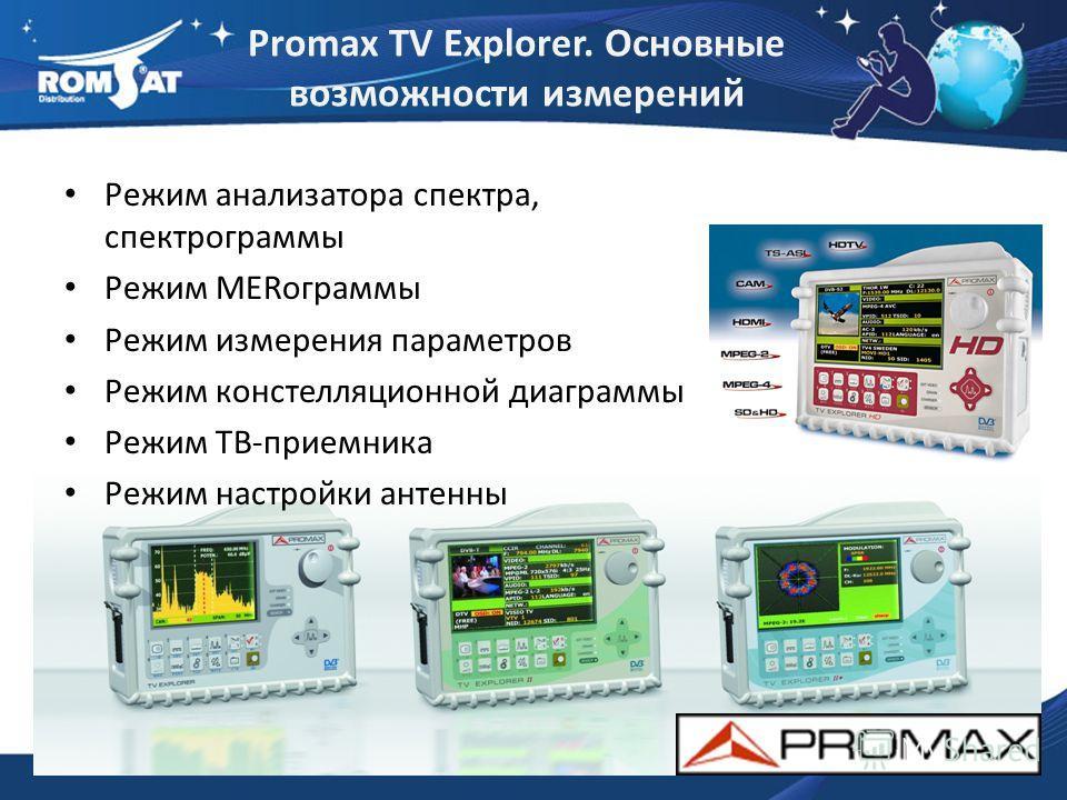 Promax TV Explorer. Основные возможности измерений Режим анализатора спектра, спектрограммы Режим MERограммы Режим измерения параметров Режим констелляционной диаграммы Режим ТВ-приемника Режим настройки антенны