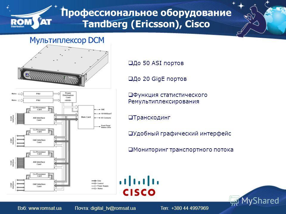 Профессиональное оборудование Tandberg (Ericsson), Cisco Вэб: www.romsat.uaПочта: digital_tv@romsat.ua Тел: +380 44 4997969 До 50 ASI портов До 20 GigE портов Функция статистического Ремультиплексирования Транскодинг Удобный графический интерфейс Мон
