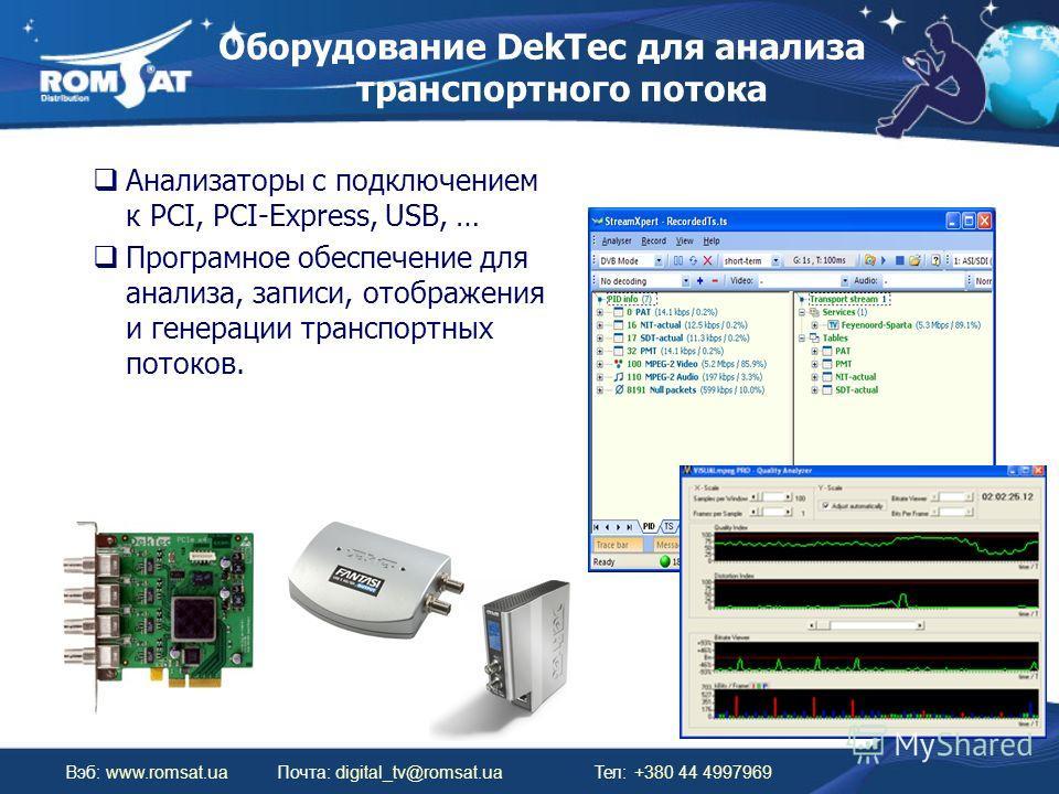 Оборудование DekTec для анализа транспортного потока Вэб: www.romsat.uaПочта: digital_tv@romsat.ua Тел: +380 44 4997969 Анализаторы с подключением к PCI, PCI-Express, USB, … Програмное обеспечение для анализа, записи, отображения и генерации транспор