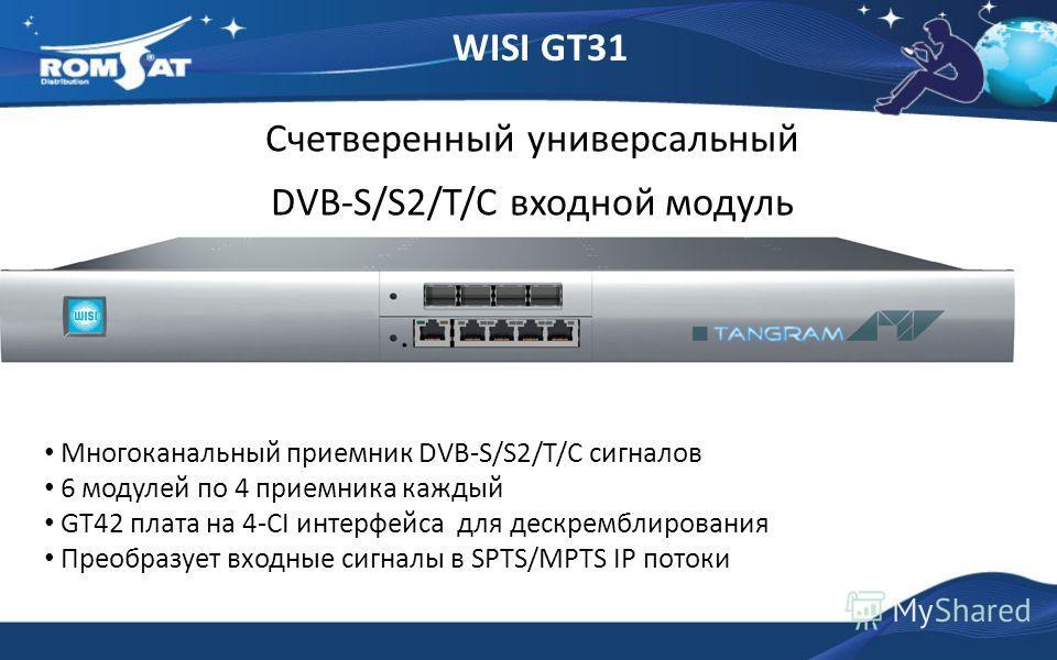 WISI GT31 Счетверенный универсальный DVB-S/S2/T/C входной модуль Многоканальный приемник DVB-S/S2/T/C сигналов 6 модулей по 4 приемника каждый GT42 плата на 4-СI интерфейса для дескремблирования Преобразует входные сигналы в SPTS/MPTS IP потоки