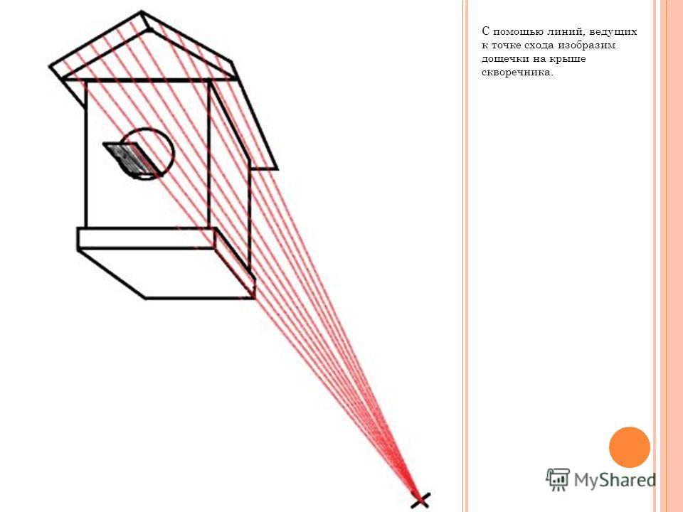С помощью линий, ведущих к точке схода изобразим дощечки на крыше скворечника.