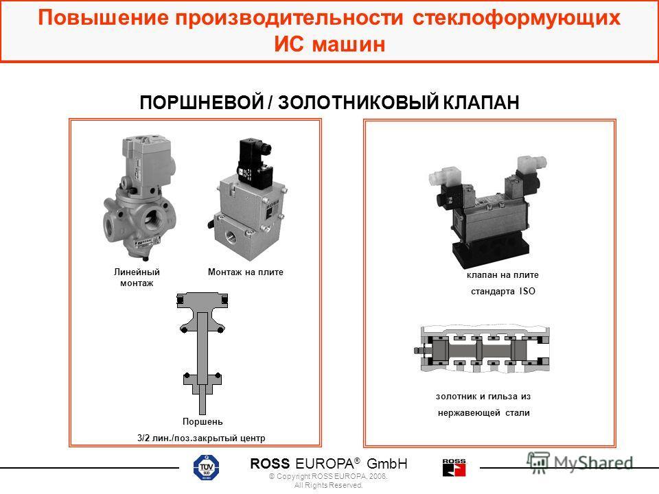ROSS EUROPA ® GmbH © Copyright ROSS EUROPA, 2006. All Rights Reserved. Повышение производительности стеклоформующих ИС машин Монтаж на плитеЛинейный монтаж Поршень 3/2 лин./поз.закрытый центр клапан на плите стандарта ISO золотник и гильзa из нержаве