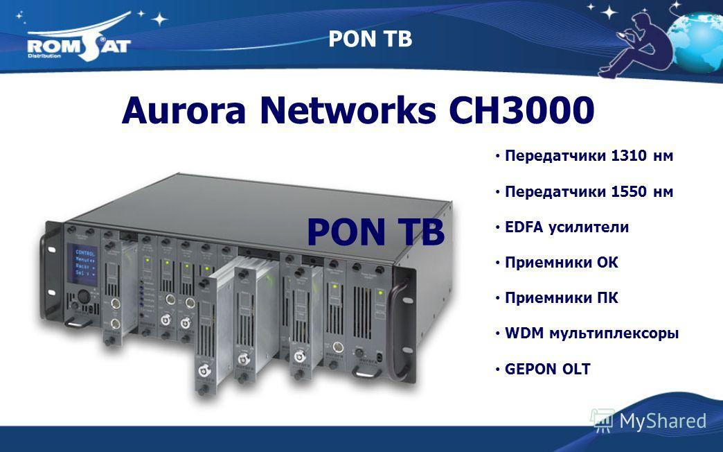 PON ТВ Aurora Networks CH3000 Передатчики 1310 нм Передатчики 1550 нм EDFA усилители Приемники ОК Приемники ПК WDM мультиплексоры GEPON OLT PON ТВ
