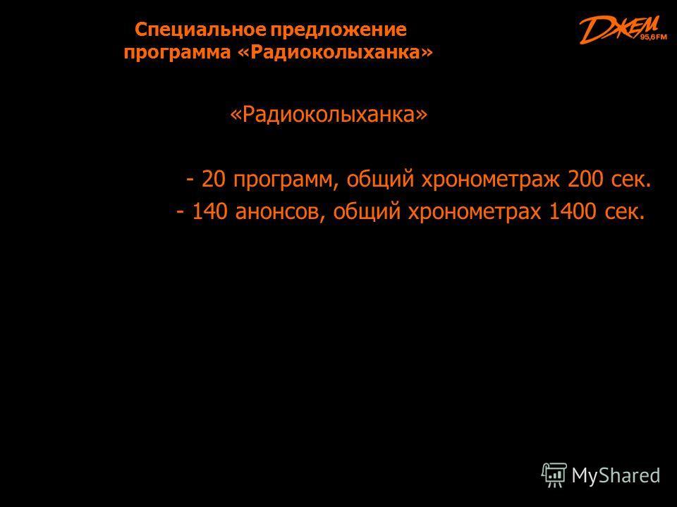Специальное предложение программа «Радиоколыханка» «Радиоколыханка» - 20 программ, общий хронометраж 200 сек. - 140 анонсов, общий хронометрах 1400 сек.