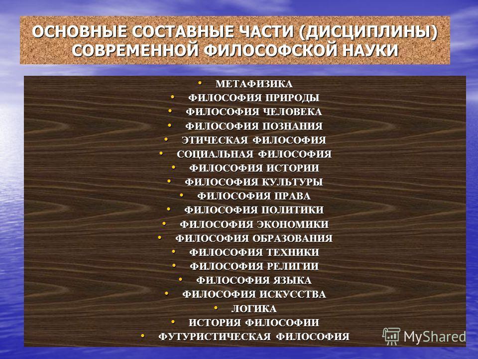 ОСНОВНЫЕ СОСТАВНЫЕ ЧАСТИ (ДИСЦИПЛИНЫ) СОВРЕМЕННОЙ ФИЛОСОФСКОЙ НАУКИ МЕТАФИЗИКА МЕТАФИЗИКА ФИЛОСОФИЯ ПРИРОДЫ ФИЛОСОФИЯ ПРИРОДЫ ФИЛОСОФИЯ ЧЕЛОВЕКА ФИЛОСОФИЯ ЧЕЛОВЕКА ФИЛОСОФИЯ ПОЗНАНИЯ ФИЛОСОФИЯ ПОЗНАНИЯ ЭТИЧЕСКАЯ ФИЛОСОФИЯ ЭТИЧЕСКАЯ ФИЛОСОФИЯ СОЦИАЛЬН