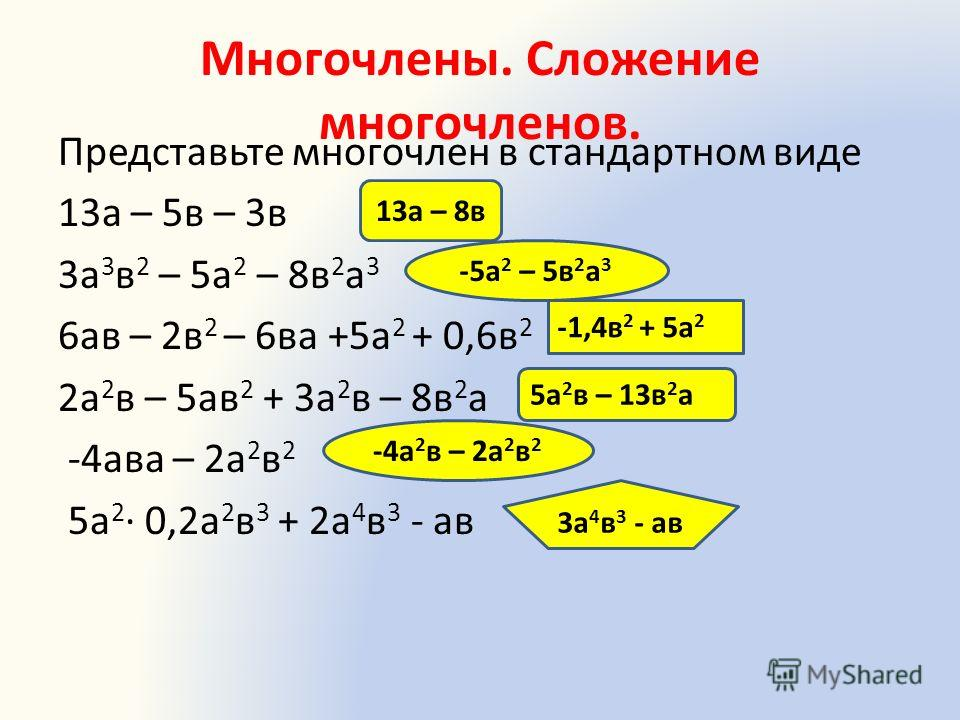 Многочлены. Сложение многочленов. Представьте многочлен в стандартном виде 13а – 5в – 3в 3а 3 в 2 – 5а 2 – 8в 2 а 3 6ав – 2в 2 – 6ва +5а 2 + 0,6в 2 2а 2 в – 5ав 2 + 3а 2 в – 8в 2 а -4ава – 2а 2 в 2 5а 2 0,2а 2 в 3 + 2а 4 в 3 - ав 13а – 8в -5а 2 – 5в