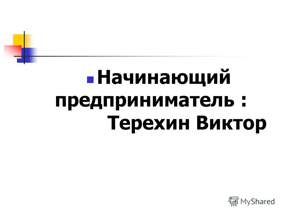 Начинающий предприниматель : Терехин Виктор