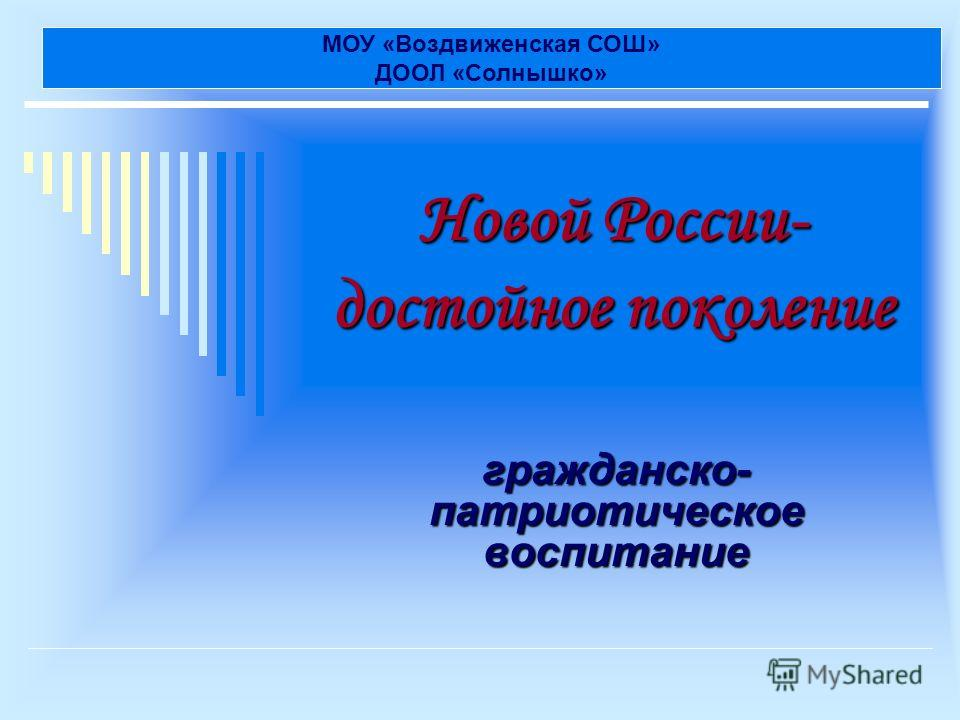 Новой России- достойное поколение гражданско- патриотическое воспитание МОУ «Воздвиженская СОШ» ДООЛ «Солнышко»