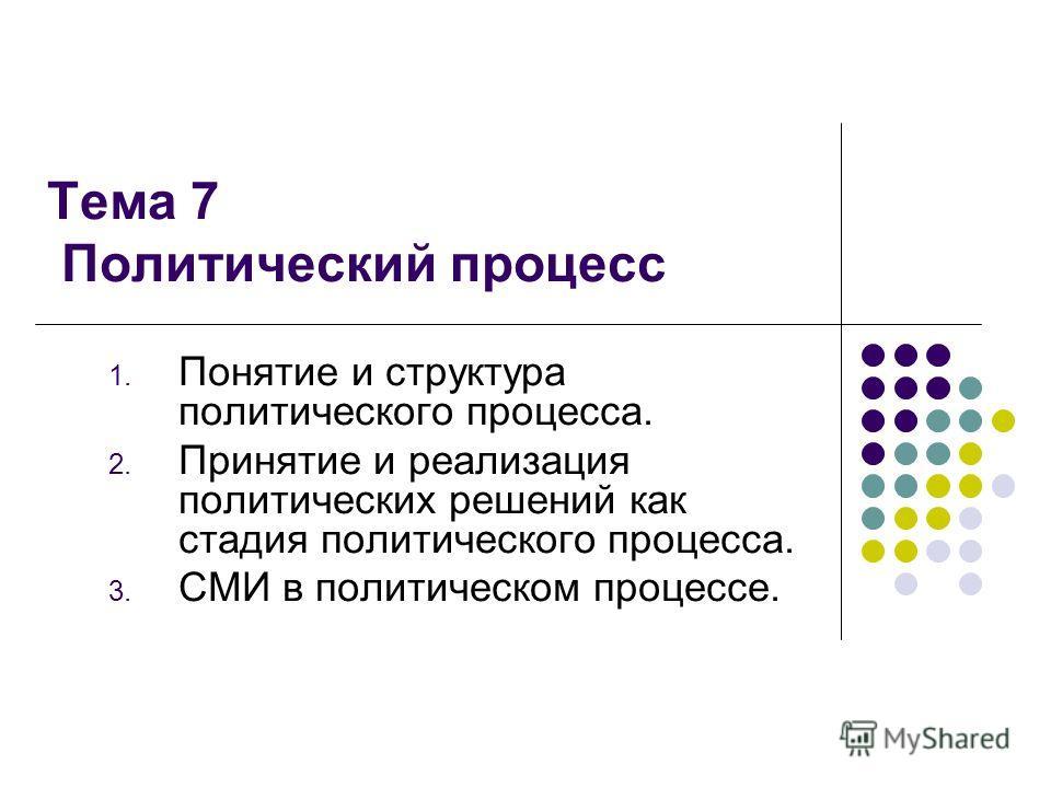 Тема 7 Политический процесс 1. Понятие и структура политического процесса. 2. Принятие и реализация политических решений как стадия политического процесса. 3. СМИ в политическом процессе.