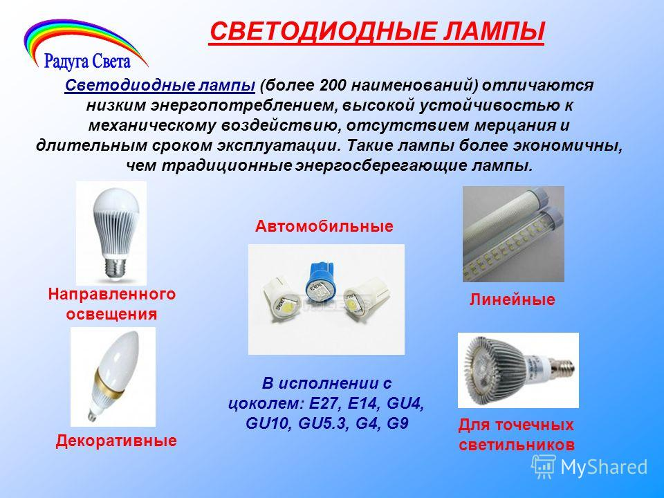 СВЕТОДИОДНЫЕ ЛАМПЫ Светодиодные лампы (более 200 наименований) отличаются низким энергопотреблением, высокой устойчивостью к механическому воздействию, отсутствием мерцания и длительным сроком эксплуатации. Такие лампы более экономичны, чем традицион