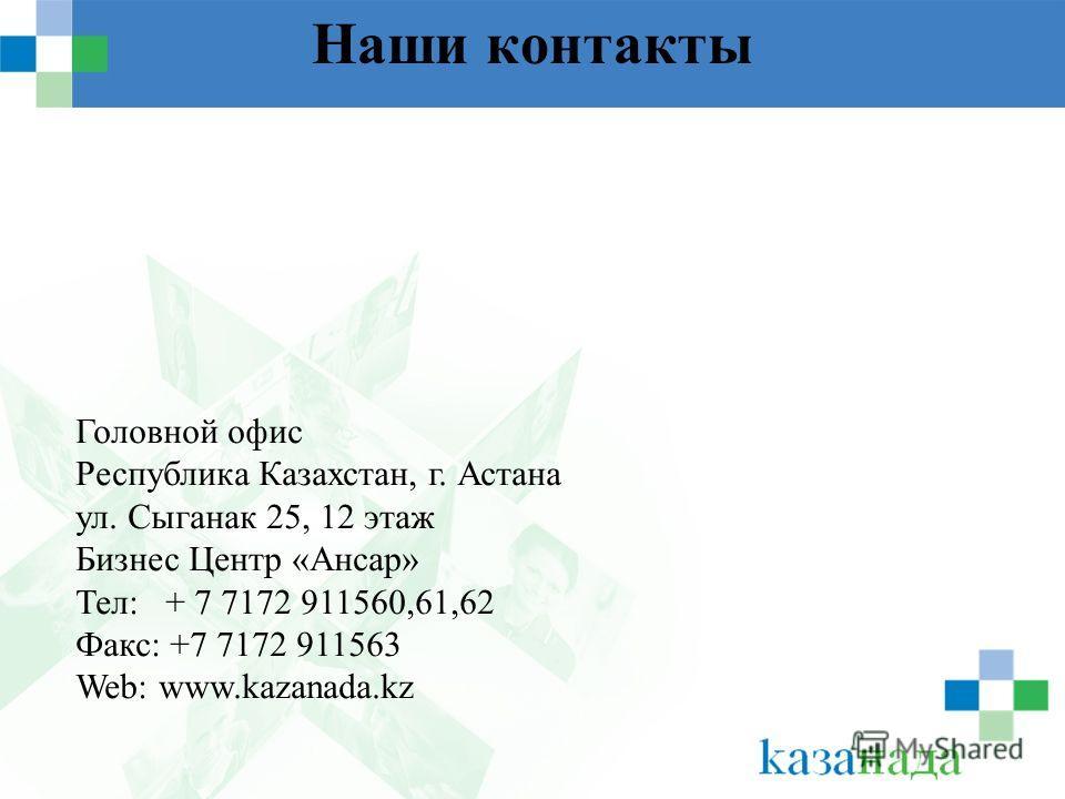 Наши контакты Головной офис Республика Казахстан, г. Астана ул. Сыганак 25, 12 этаж Бизнес Центр «Ансар» Тел: + 7 7172 911560,61,62 Факс: +7 7172 911563 Web: www.kazanada.kz