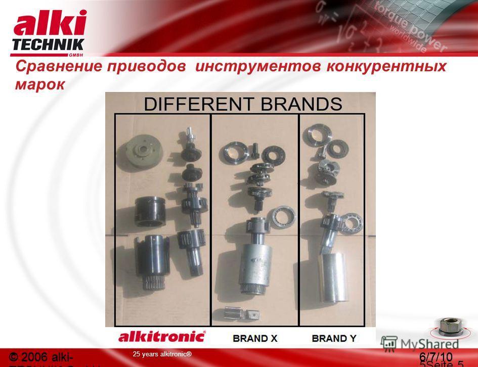 25 years alkitronic® © 2006 alki- TECHNIK GmbH 6/7/10 © 2006 alki- TECHNIK GmbH 6/7/10 5Seite 5 Сравнение приводов инструментов конкурентных марок