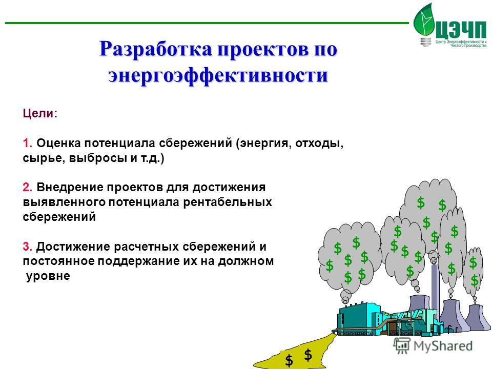 Разработка проектов по энергоэффективности Цели: 1. Оценка потенциала сбережений (энергия, отходы, сырье, выбросы и т.д.) 2. Внедрение проектов для достижения выявленного потенциала рентабельных сбережений 3. Достижение расчетных сбережений и постоян