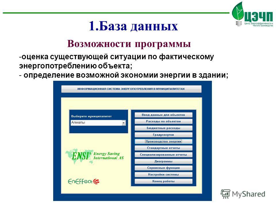 Возможности программы -оценка существующей ситуации по фактическому энергопотреблению объекта; - определение возможной экономии энергии в здании; 1.База данных