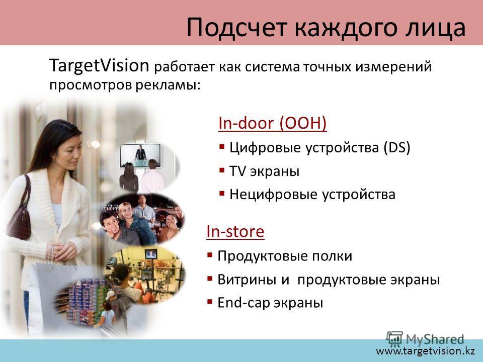 www.targetvision.kz TargetVision работает как система точных измерений просмотров рекламы: Подсчет каждого лица In-door (OOH) Цифровые устройства (DS) TV экраны Нецифровые устройства In-store Продуктовые полки Витрины и продуктовые экраны End-cap экр