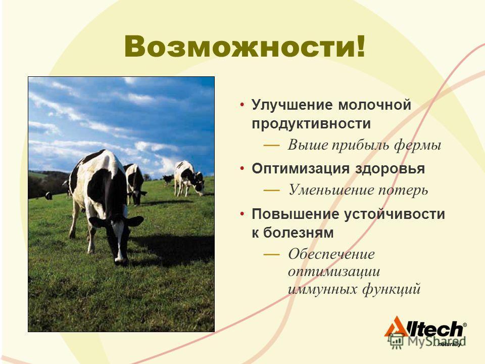 Возможности! Улучшение молочной продуктивности Выше прибыль фермы Оптимизация здоровья Уменьшение потерь Повышение устойчивости к болезням Обеспечение оптимизации иммунных функций