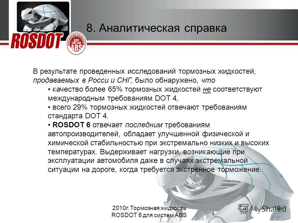 2010г. Тормозная жидкость ROSDOT 6 для систем ABS 10 8. Аналитическая справка В результате проведенных исследований тормозных жидкостей, продаваемых в Росси и СНГ, было обнаружено, что качество более 65% тормозных жидкостей не соответствуют междунаро