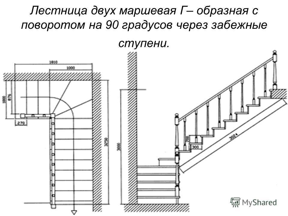 Лестница двух маршевая Г– образная с поворотом на 90 градусов через забежные ступени.