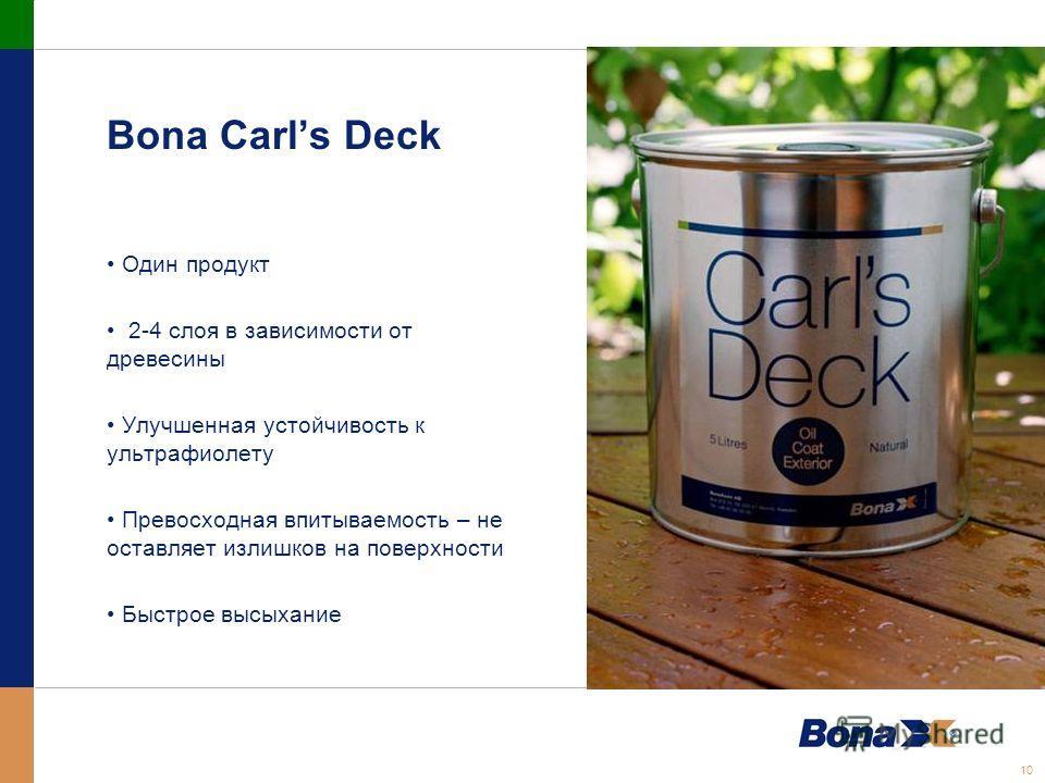 10 Bona Carls Deck Один продукт 2-4 слоя в зависимости от древесины Улучшенная устойчивость к ультрафиолету Превосходная впитываемость – не оставляет излишков на поверхности Быстрое высыхание