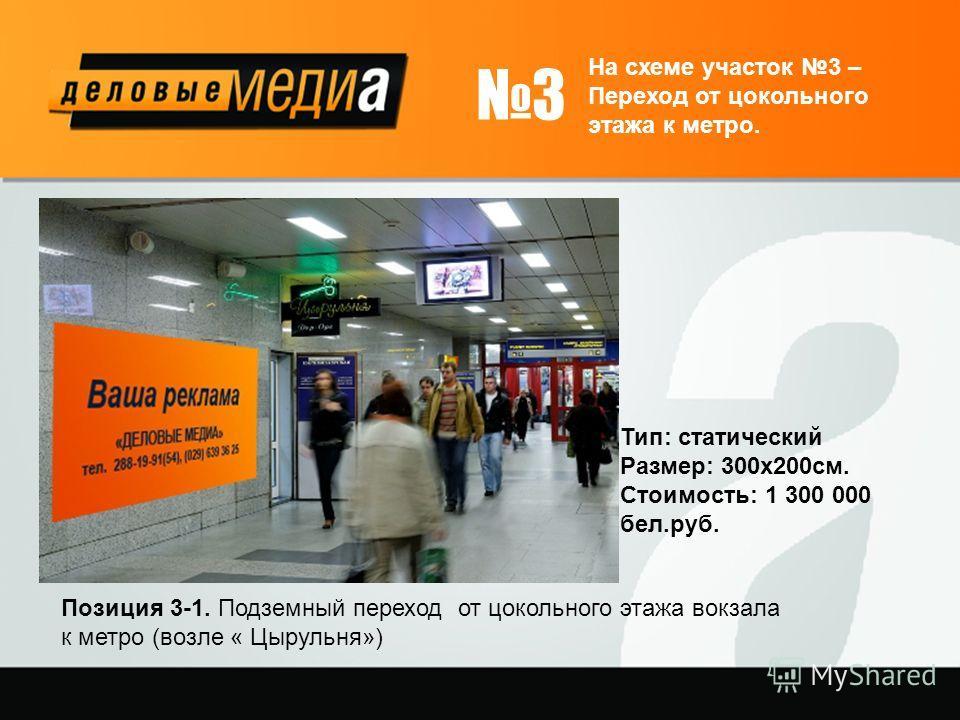 3 На схеме участок 3 – Переход от цокольного этажа к метро. Позиция 3-1. Подземный переход от цокольного этажа вокзала к метро (возле « Цырульня») Тип: статический Размер: 300х200см. Стоимость: 1 300 000 бел.руб.
